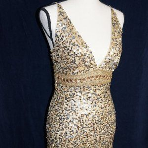 Gold Sequin Short Prom Dress Size Small
